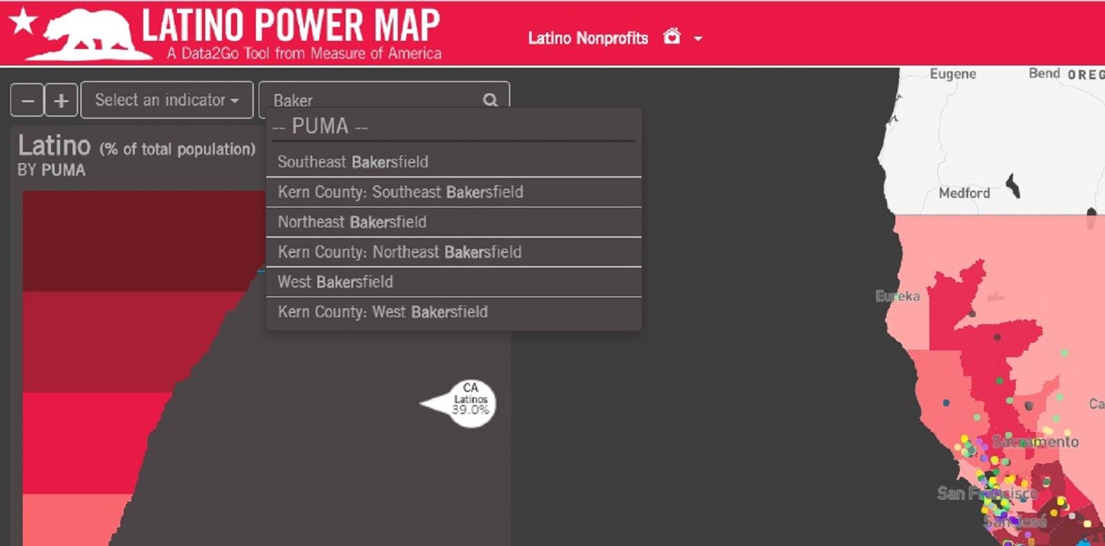 California Latino Power Map's Type-ahead Search Functionality