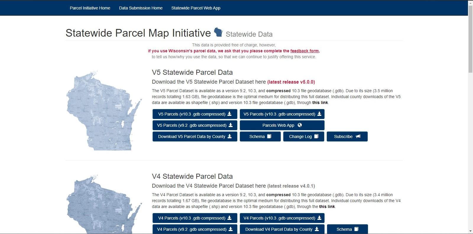 Statewide Parcel Map data download site